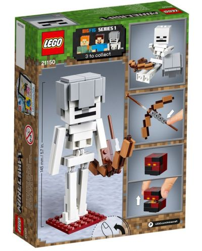 Конструктор Lego Minecraft - Голяма фигурка скелет с куб от магма (21150) - 6