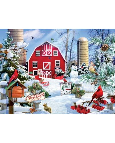 Пъзел SunsOut от 1000 части - Снежен ден във фермата, Лори Шори - 2