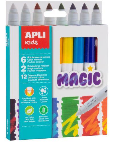 Комплект флумастери Apli - Магически, 8 броя, 12 цвята - 1