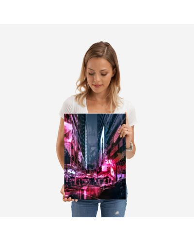 Метален постер Displate - Cyberpunk City - 2