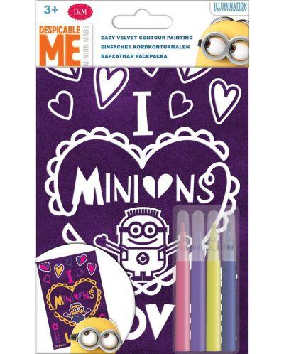 Творчески комплект Revontuli Toys Oy - Оцвети сам, Миньони, с кадифен контур - 1