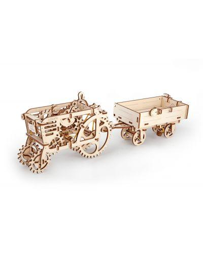 Дървен 3D пъзел Ugears от 165 части - Трактор с ремарке - 4