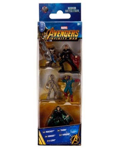 Комплект фигури Nano Metalfigs Marvel Avengers - 5 броя - 1