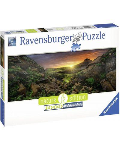 Панорамен пъзел Ravensburger от 1000 части - Слънце над Исландия - 3