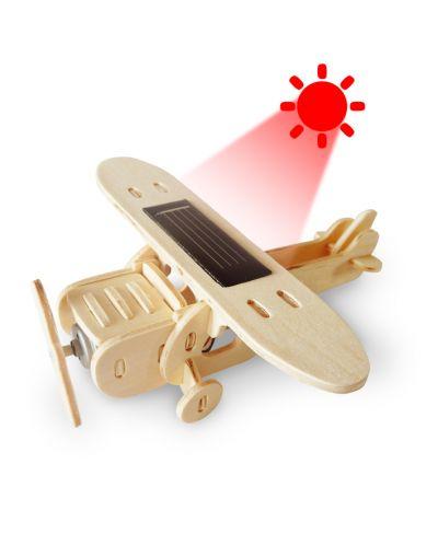 Дървен 3D пъзел Robo Time от 25 части – Соларен моноплан - 3