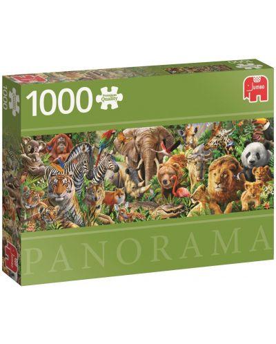 Панорамен пъзел Jumbo от 1000 части - Дивият живот в Африка - 1