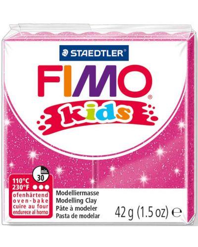 Полимерна глина Staedtler Fimo Kids - блестящ розов цвят - 1