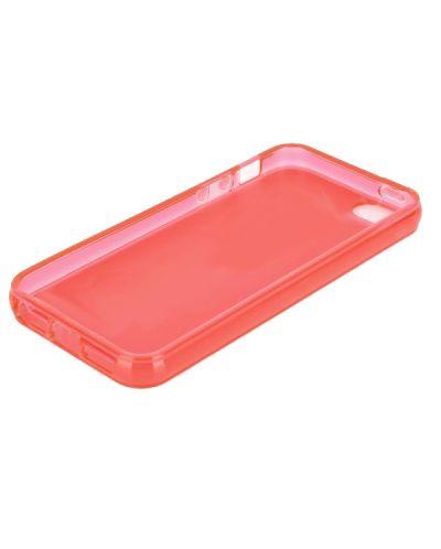 Protective Translucent TPU Case за iPhone 5 -  червен-прозрачен - 2