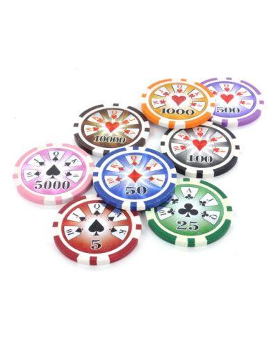Покер чипове Premium Stripe - оранжеви с деноминация 1000 и тегло 13,5 грама (25 броя) - 1