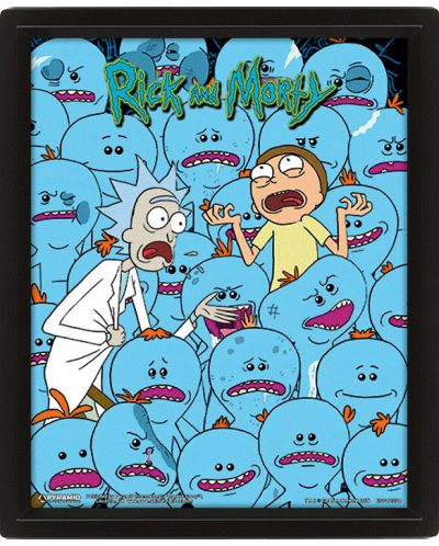 3D плакат с рамка Pyramid - Rick and Morty: Mr. Meeseeks - 1