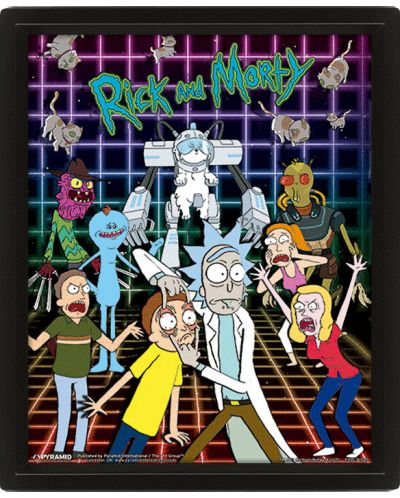 3D плакат с рамка Pyramid - Rick and Morty: Characters Grid - 1