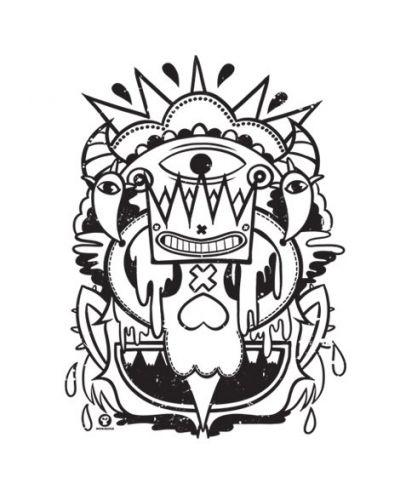 Тениска RockaCoca Skull King, бяла, размер S - 2
