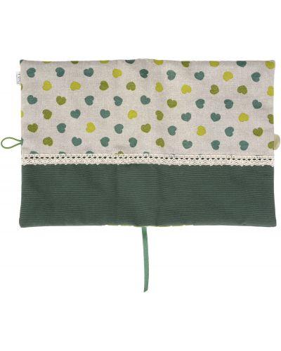 Рокля за книга (Текстилна подвързия с копче): Зелени сърца, зелена основа, дантела - 3
