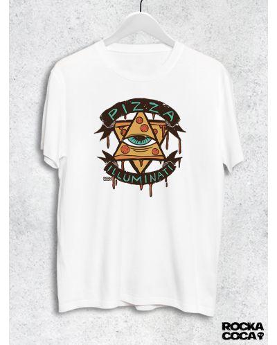 Тениска RockaCoca Pizza Iluminati, бяла, размер M - 1
