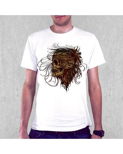 Тениска RockaCoca SkullFlower, бяла, размер M - 2