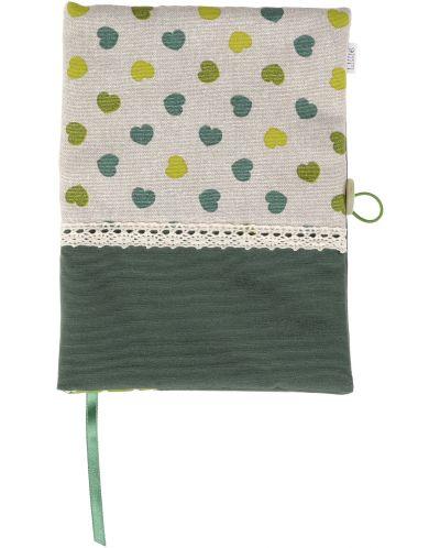 Рокля за книга (Текстилна подвързия с копче): Зелени сърца, зелена основа, дантела - 2