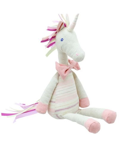 Плюшена играчка The Puppet Company Wilberry Linen - Розов еднорог, от лен, 40 cm - 1
