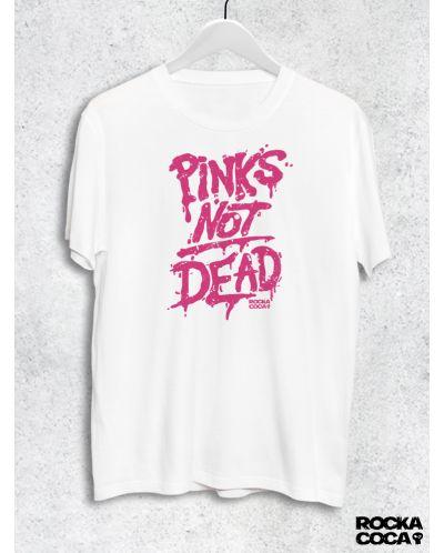 Тениска RockaCoca Pink's not dead, бяла, размер S - 1