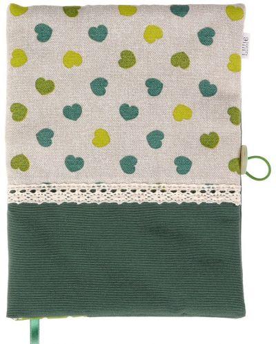 Рокля за книга (Текстилна подвързия с копче): Зелени сърца, зелена основа, дантела - 1