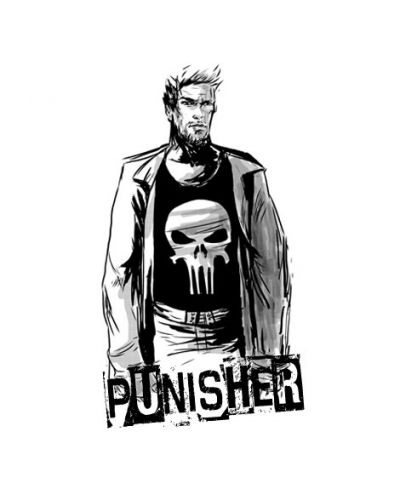 Тениска RockaCoca Punisher, бяла, размер XL - 2