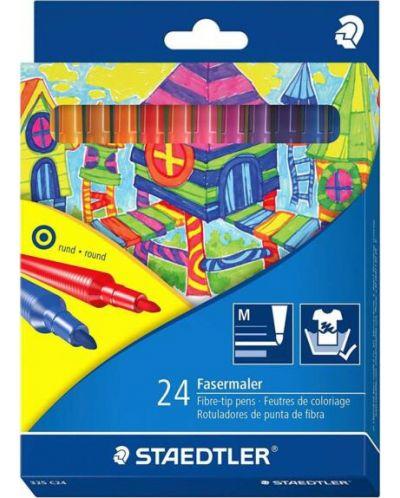 Цветни флумастери Staedtler 325 - 24 цвята, изпиращо се мастило - 1