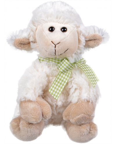 Плюшена играчка Morgenroth Plusch – Седяща овчица със зелена панделка, 19 cm - 1