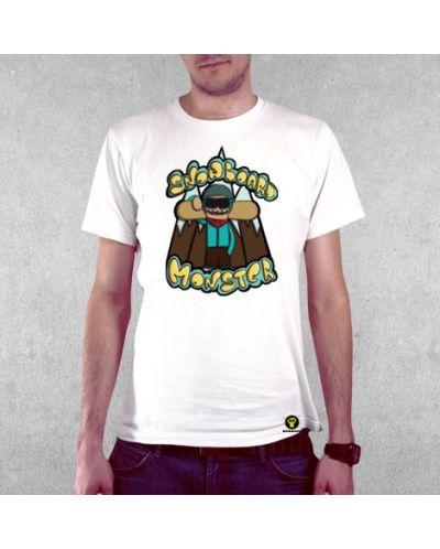 Тениска RockaCoca Snowboard Monster, бяла, размер S - 2