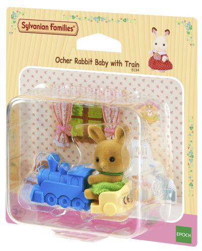 Комплект фигурки Sylvanian Families - Бебе зайче, с влакче - 1