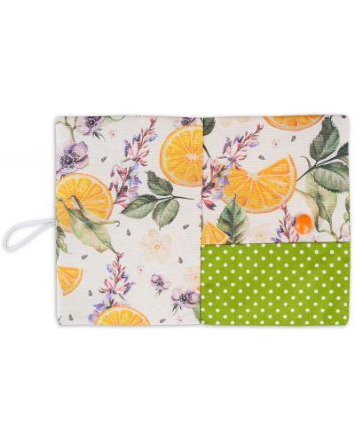 Текстилна подвързия за книга Портокал (зелен фон) - 4