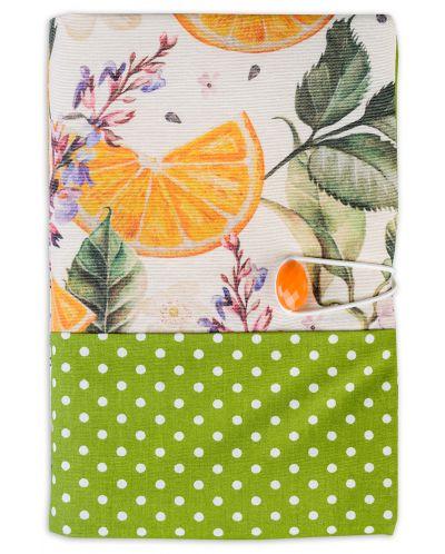 Текстилна подвързия за книга Портокал (зелен фон) - 2