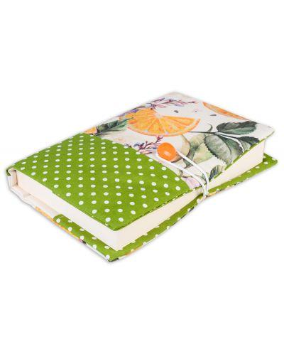 Текстилна подвързия за книга Портокал (зелен фон) - 6