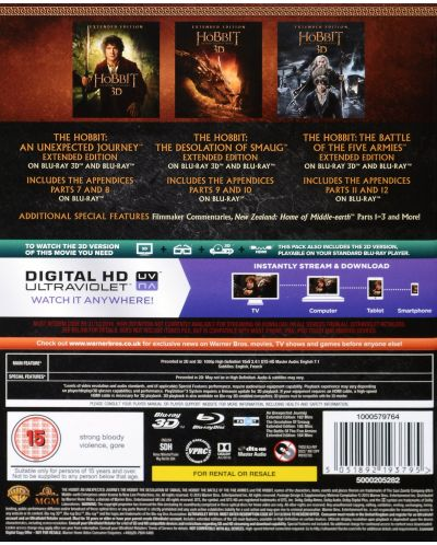 The Hobbit Trilogy - Extended Edition 3D+2D (Blu-Ray) - 3