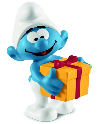 Фигурка Schleich The Smurfs - Смърф с подарък - 1