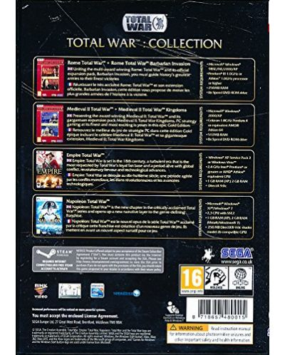 Total War: 6 Game Collection (Rome+Barbarian/Medieval II+Kingdoms/Empire/Napoleon) (PC) - 2