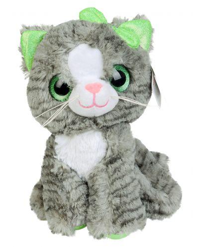 Плюшена играчка Morgenroth Plusch - Коте със зелена панделка, 26 cm - 1