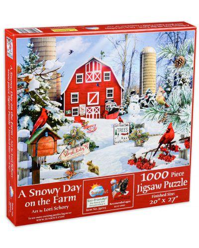 Пъзел SunsOut от 1000 части - Снежен ден във фермата, Лори Шори - 1
