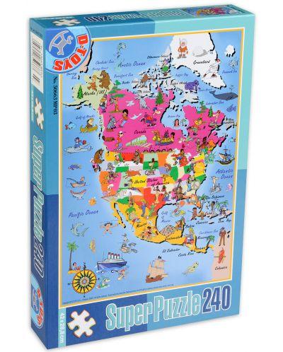 Пъзел D-Toys от 240 части - Картa - 1