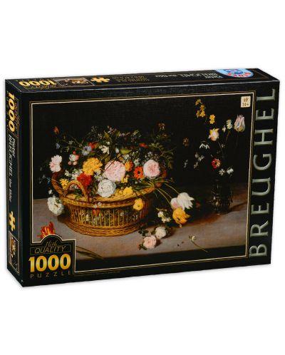 Пъзел D-Toys от 1000 части - Цветя в кошница и ваза, Питер Брьогел - 1