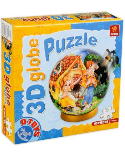 3D пъзел D-Toys от 60 части - Хензел и Гретел, глобус - 1