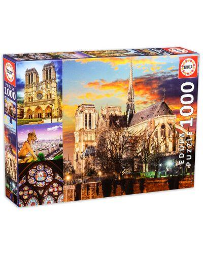 Пъзел Educa от 1000 части - Катедралата Нотр Дам в Париж, колаж - 1