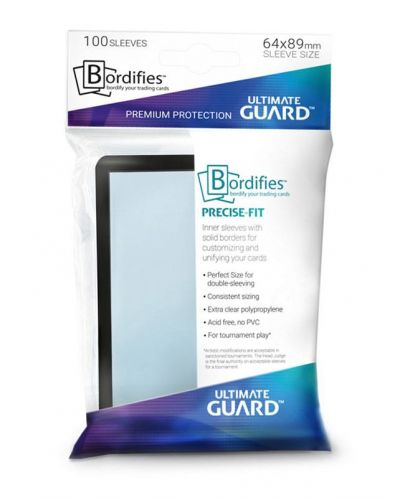 Ultimate Guard Bordifies; Precise-Fit Sleeves Standard Size Black (100) - 1