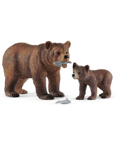 Комплект фигурки Schleich Wild Life - Майка мечка гризли с малко - 1