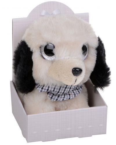 Плюшена играчка Morgenroth Plusch – Кученце с бляскави очи и в цвят слонова кост, 12 cm - 1