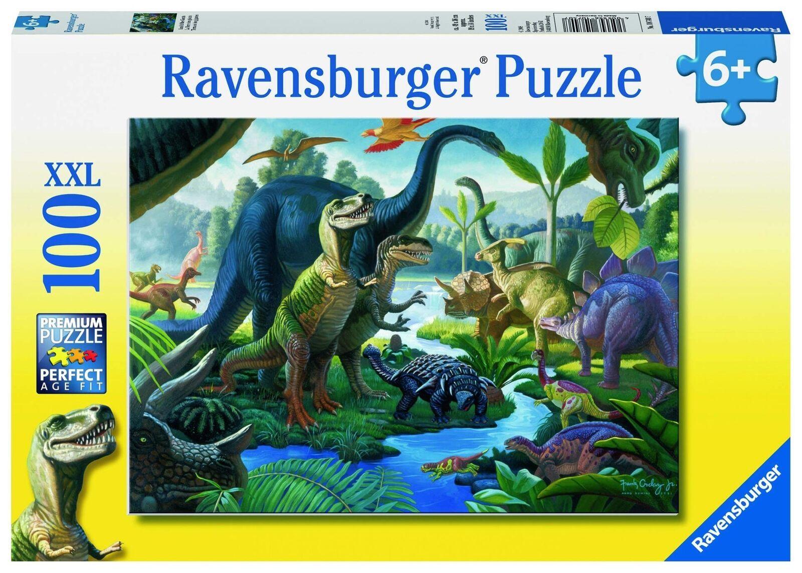 Пъзел Ravensburger от 100 XXL части - Земя на динозаври - 1