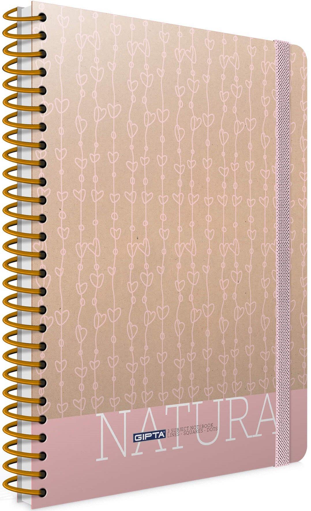 Ученическа тетрадка 120 листа Gipta Nature - Розова - 1