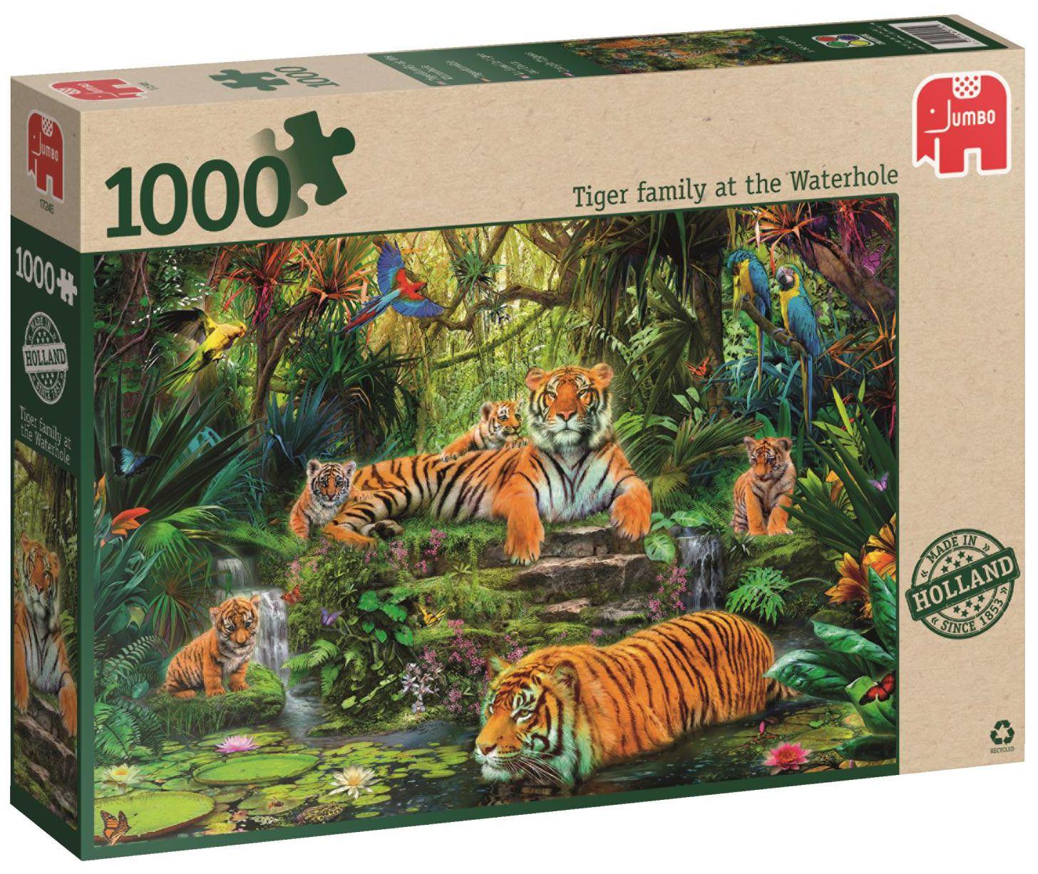 Пъзел Jumbo от 1000 части - Семейство тигри под водопада - 1