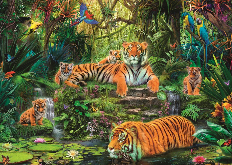Пъзел Jumbo от 1000 части - Семейство тигри под водопада - 2