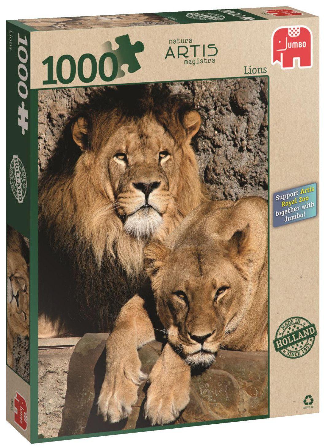 Пъзел Jumbo от 1000 части - Лъвове - 1