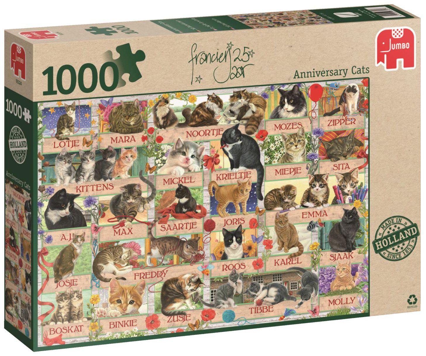 Пъзел Jumbo от 1000 части - Годишнина на котките на Франсин - 1