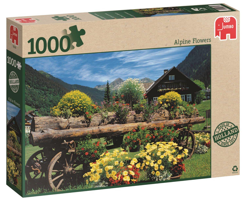 Пъзел Jumbo от 1000 части - Алпийски цветя - 1